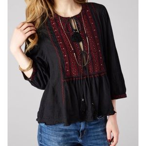 Free People Wild Life Embroidered Top Black Red S