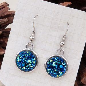 Jewelry - Druzy Style Blue Silver Tone Earrings
