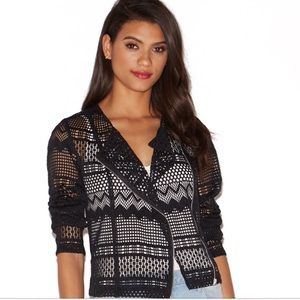 NWT Just Fab Lace Moto Jacket in Black Size Medium