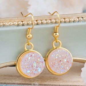 Jewelry - Druzy Style Pink Goldtone Earrings