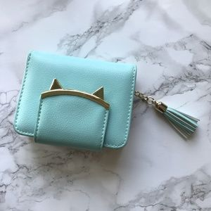 Accessories - Turquoise Wallet with Gold Kitten Closure