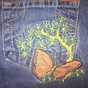 True Religion Medium Wash Butterfly Jean Shorts