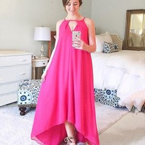 Roxberi Elle keyhole hot pink maxi dress