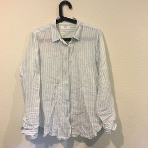 Uniqlo premium linen stripe button down shirt