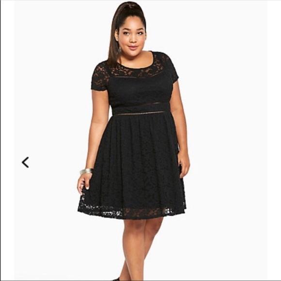 NWT Torrid Adrsy Black Lace Skater Dress Pls Sz 18 8fb029424