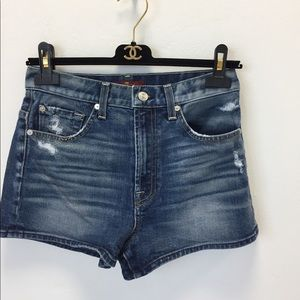 7 For All Mankind Blue High Waist Shorts Size 25