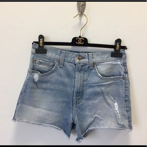 7 For All Mankind Distressed High Waist Shorts 25