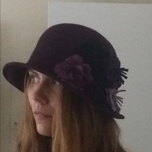 Accessories - Purple Wool Bucket Hat With Flower Accents