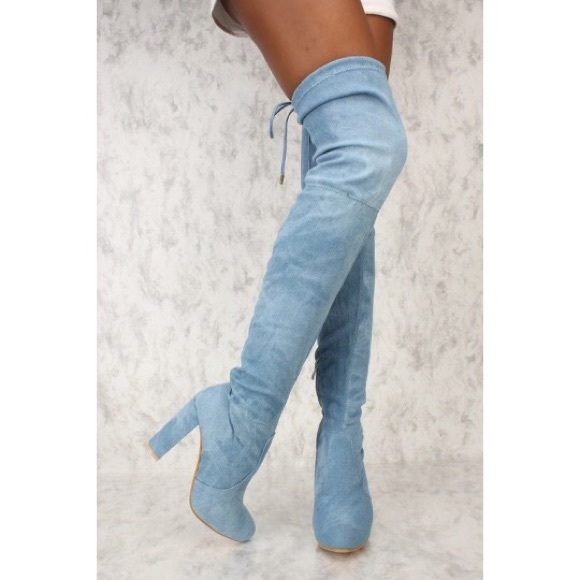012f1e9b441 🎉SALE🎉Light Blue Denim Thigh High Tie-Back Boots Boutique