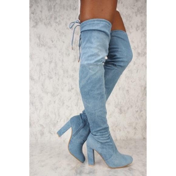 e4d3ae20552 Light Blue Denim Thigh High Tie-Back Boots Boutique