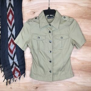 DKNY Jeans Military Green Button Front Shirt