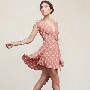 {reformation} Raquel dress in pink polka dot