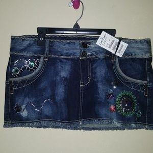 Dresses & Skirts - Bebe Blue Jean Mini Trinket Skirt