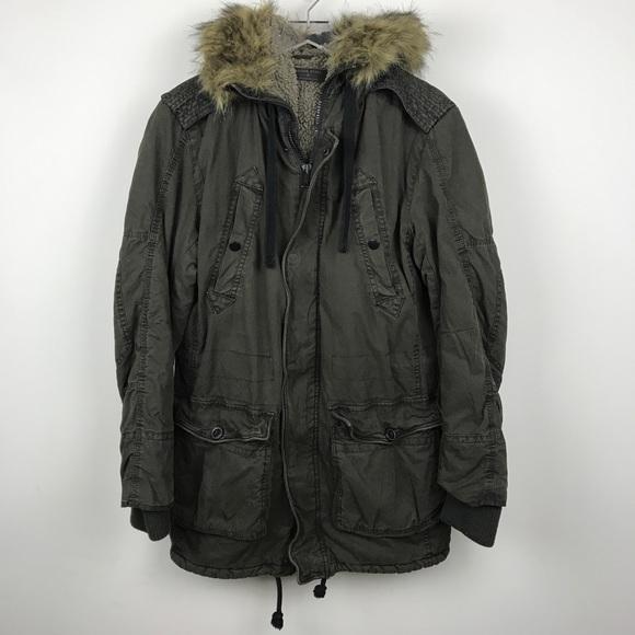 4b2b9bd146 Rogue State Jackets & Coats | Military Parka Jacket Faux Fur Hood ...