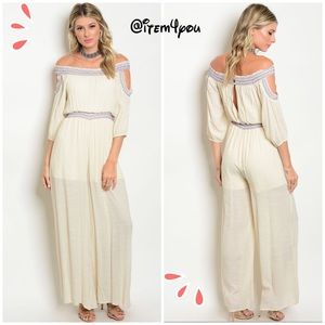 Pants - 🆕ONE DAY SALE Cream off shoulder Jumpsuit