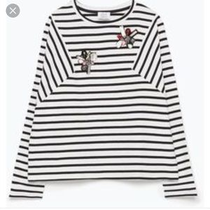 Zara black and white stripe top +jewel appliqué
