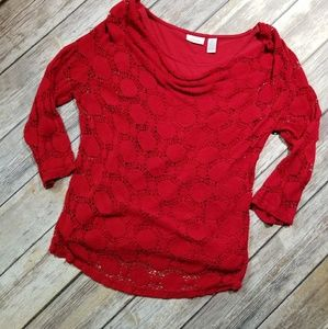 Chico's red top with dots size 0