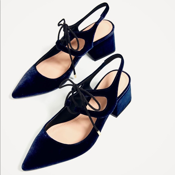 60436caff857 Zara velvet tie up slingback block heel navy blue