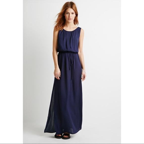 Forever 21 Dresses New Navy Blue Chiffon Maxi Dress Poshmark