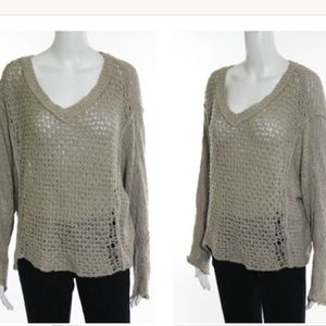 FREE PEOPLE LOOSE FIT CABLE KNIT DISTRESSED SZ XS