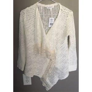 Sweaters - Cream Knit Cardigan With Lace Trim