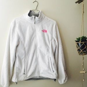 White fuzzy Northface jacket