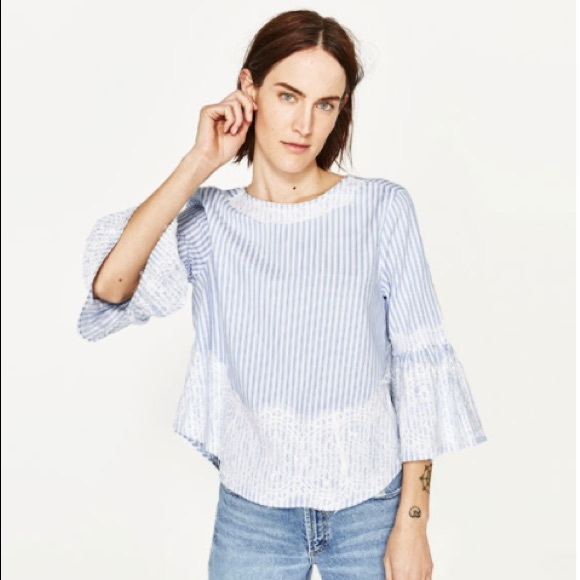 47360ad3 NEW Zara Striped Blue White Blouse Top Lace Detail NWT