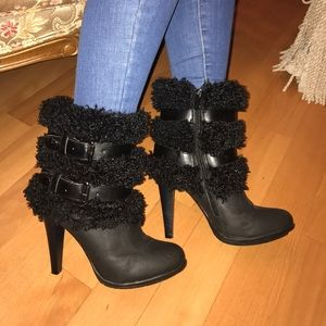 Shoes - Worn once! Black fuzzy boots