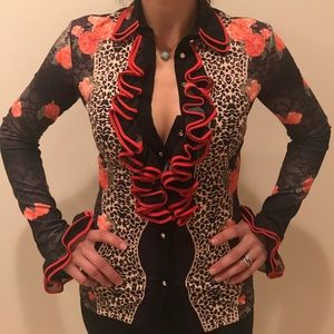 Rose cheetah ruffle blouse