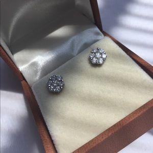 18K Diamond Flower cluster earrings