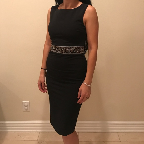 5559e21d304 Black beaded fitted dress