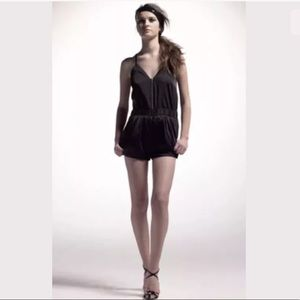 Shipley & Halmos Black Ruched Romper Small