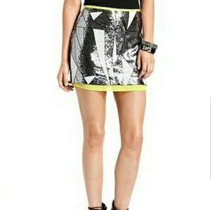 Rampage Damask Print Sequin Skirt
