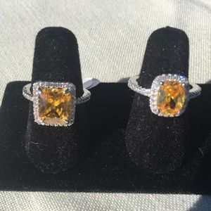 Yellow Sapphire Rings in 925 Sterling Silver