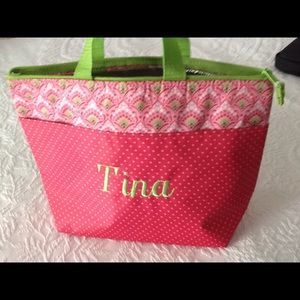 Handbags - New Thirty One insulated tote name Tina pink-green