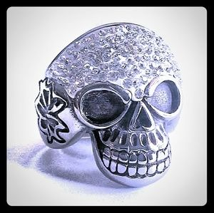 Other - Skull Ring Wide-Cast with Pave Gemstones