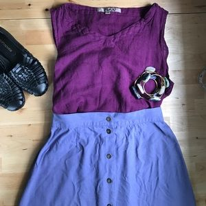 Dresses & Skirts - VINTAGE 100% silk high-waisted skirt purple