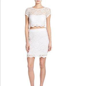 Missguided White Speechless Glitter 2 Piece dress