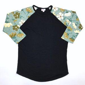 LuLaRoe Black Floral Randy Tee Baseball Shirt