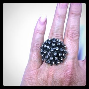 gunmetal stretch bling ring