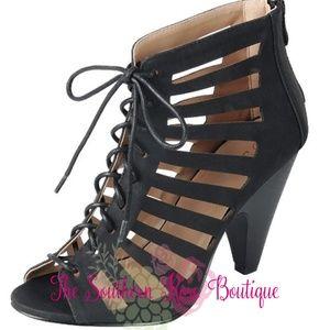 New! Black Peep Toe Cuban Heel Booties
