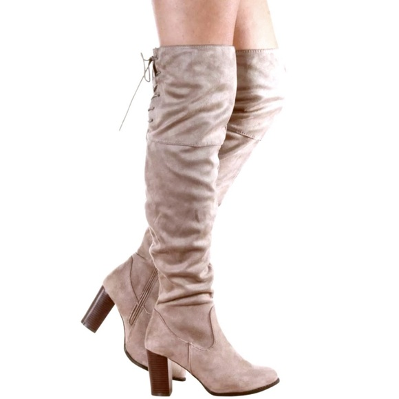 Suede Knee Over BootsNewBoutique Taupe SzqUVMp