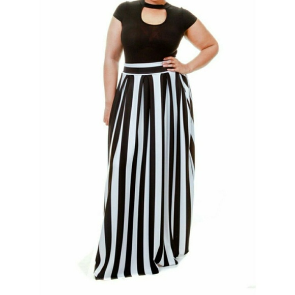 4ab93b4a6d Skirts | Plus Size Striped Scuba Maxi Skirt | Poshmark