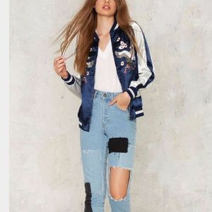 🆕Light as a Feather Embroidered Bomber Jacket