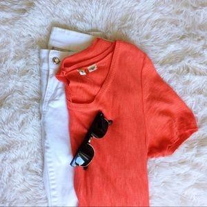 ANTHROPOLOGIE orange short sleeve button back top
