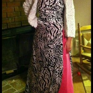 Deb zebra print prom dress