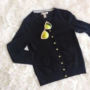 BANANA REPUBLIC black merino wool petite cardigan