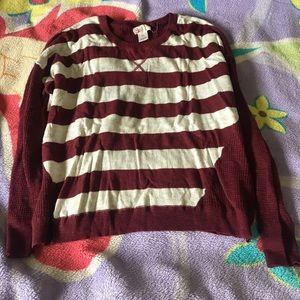 Burgundy Stripped long sleeve