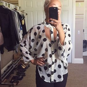 Polka Dot Blouse with Pockets