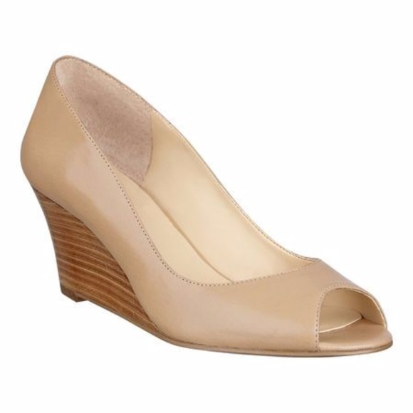 0f064423d7b2 Nine West Power Surge Nude Open Toe Wedge. M 599f30e8c2845652e101cdc2
